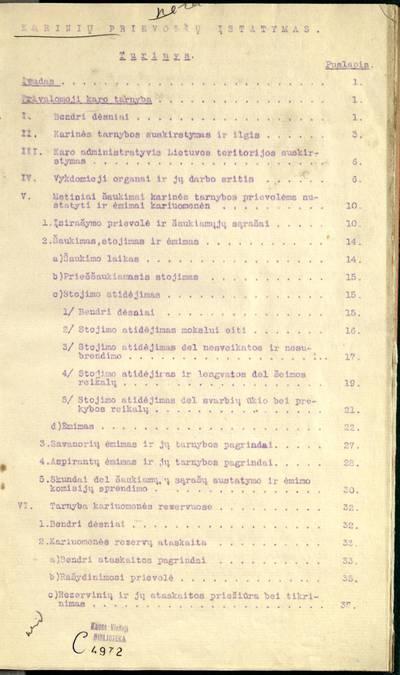 Karinių prievolių įstatymas. - 1926