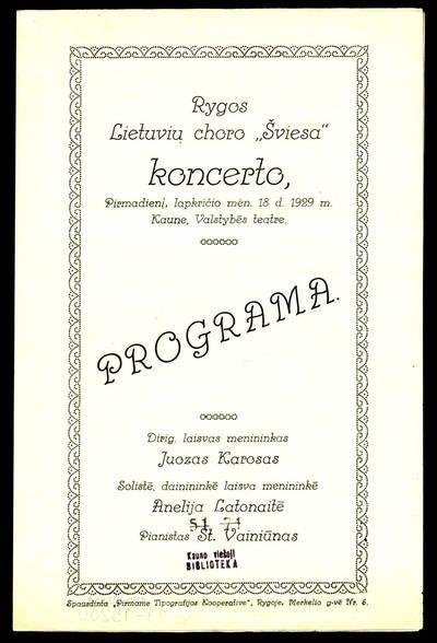 """Rygos lietuvių choro """"Šviesa"""" koncerto, pirmadienį, lapkričio mēn. 18 d. 1929 m. Kaune, Valstybēs teatre, programa. - 1929"""
