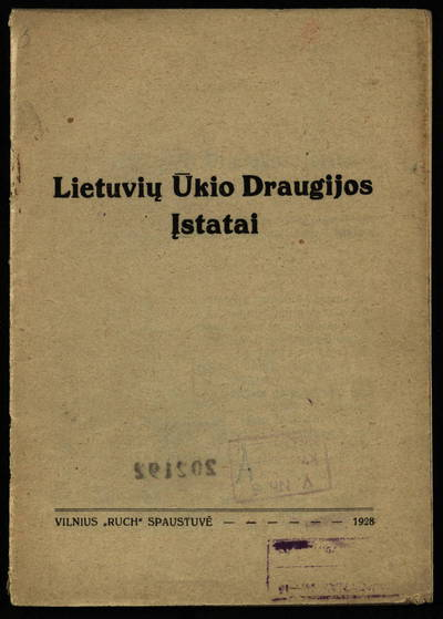 Lietuvių ūkio draugijos įstatai. - 1928