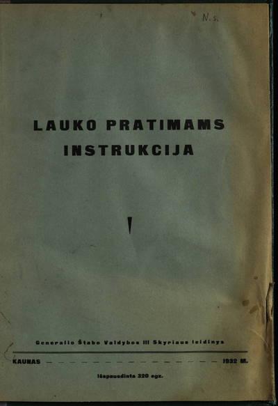 Lauko pratimams instrukcija. - 1932