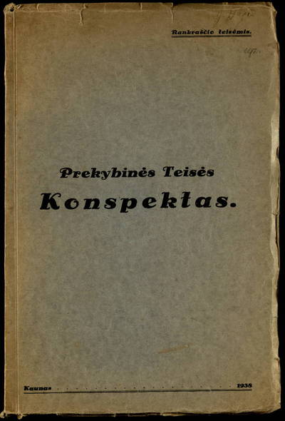 Prekybinės teisės konspektas. - 1938