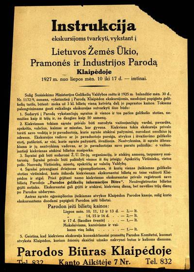 Instrukcija ekskursijoms tvarkyti, vykstant į Lietuvos žemės ūkio, pramonės ir industrijos parodą Klaipėdoje 1927 m. nuo liepos mėn. 10 iki 17 d. imtinai. - 1927