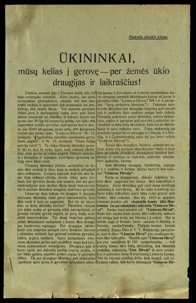 Ūkininkai, mūsų kelias į gerovę - per žemės ūkio draugijas ir laikraščius!. - 1923