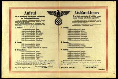 Atsišaukimas į Rytų krašto gyventojus dėl vokiečių kariuomenės išduotųjų pakvitavimų apmokėjimo / Reicho komisaras Rytų kraštui Lohse. - 1941, rugs. 25