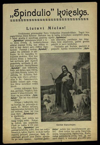 Spindulio kvieslys. Lietuvi mielas!. - 1910