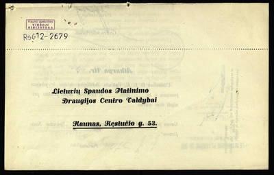 Maloniai prašome Tamstą užsiprenumeruoti D. L. K. Vytauto jubiliejinį leidinį .... - 1929