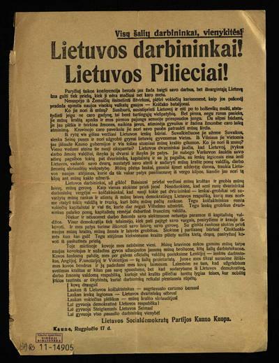 Lietuvos darbininkai! Lietuvos pilieciai! / Lietuvos socialdemokratų partijos Kauno kuopa. - 1919