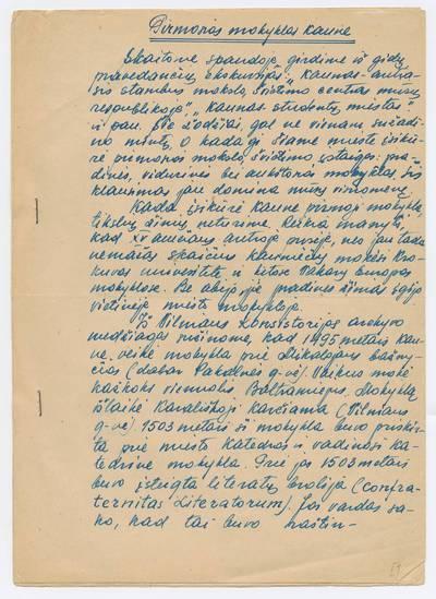 Prano Juozapavičiaus kraštotyros rankraščių rinkinys. Darbai apie Kauną. Pirmosios mokyklos Kaune / Pr. Juozapavičius. - 1961