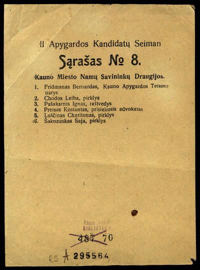 II apygardos kandidatų Seiman sąrašas № 8. - 1922