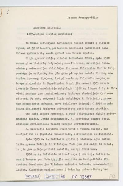 Prano Juozapavičiaus kraštotyros rankraščių rinkinys. Biografijos. Abraomas Kulvietis / Pranas Juozapavičius. - 1970