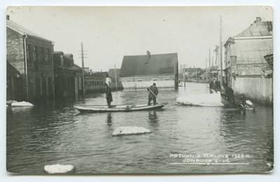 Senieji Lietuvos atvirukai ir fotografijos. Kaunas ir jo apylinkės. Potvynis Kaune 1926 m. Jonavos g-vė. - 1926