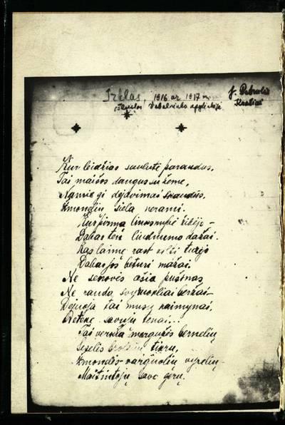 Laikraštėlių kolekcija. Jaunimo organizacijų leidiniai. Irklas. [Nr. ?]. - 1915.01-02