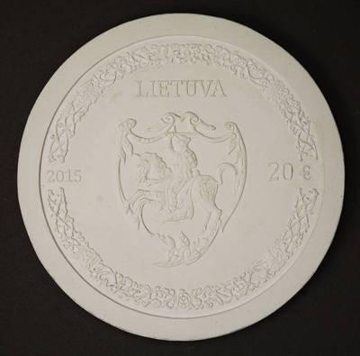 Rytas Jonas Belevičius. Modelis, gipsinis. Aversas, 20 eurų kolekcinės monetos, skirtos Mikalojaus Radvilos Juodojo 500-osioms gimimo metinėms. Lietuva. 2015