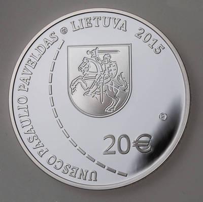 Tadas Žebrauskas. Moneta, kolekcinė (etalonas). 20 eurų moneta, skirta Struvės geodeziniam lankui (UNESCO pasaulio paveldas). 2015