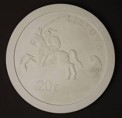 Rūta Ona Čigriejūtė. Modelis, gipsinis. Aversas, 20 eurų kolekcinės monetos, skirtos Mykolo Kleopo Oginskio 250-osioms gimimo metinėms. 2015
