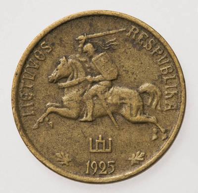 Juozas Zikaras. Moneta. 5 centai. 1925 m. Lietuva. 1925