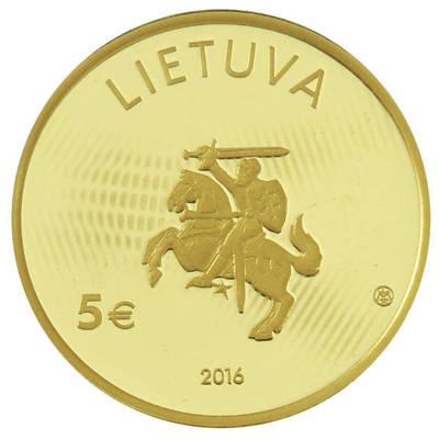 """Jolanta Mikulskytė. Moneta, kolekcinė (reprezentacinėje dėžutėje su sertifikatu). 5 eurų moneta, skirta fizikai (Iš serijos """"Lietuvos mokslas""""). 2016-03-29"""