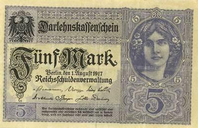 Banknotas. 5 markės. Serijos numeris Z • 10538524. 1917