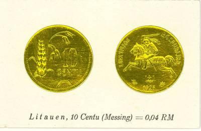 Richard Greiling. Atvirukas su 1925 m. laidos Lietuvos Respublikos 10 centų monetos atvaizdu. 1930