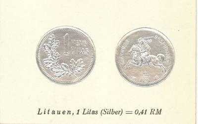 Richard Greiling. Atvirukas su 1925 m. laidos Lietuvos Respublikos 1 lito monetos atvaizdu. 1930