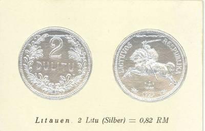 Richard Greiling. Atvirukas su 1925 m. laidos Lietuvos Respublikos 2 litų monetos atvaizdu. 1930