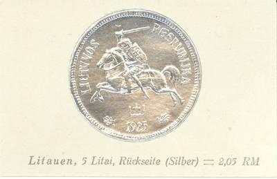 Richard Greiling. Atvirukas su 1925 m. laidos Lietuvos Respublikos 5 litų monetos atvaizdais. Aversas. 1930