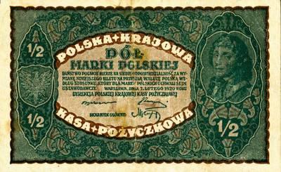 Banknotas (skolinamosios kasos bilietas). 1 markė. 1919 m. Lenkija. 1919