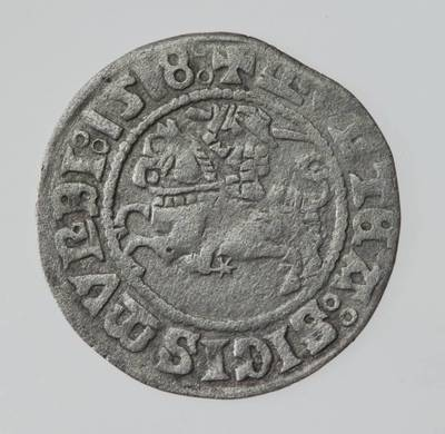 Moneta. Pusgrašis. Žygimantas Senasis (1506–1544). 1518 m. LDK. 1518