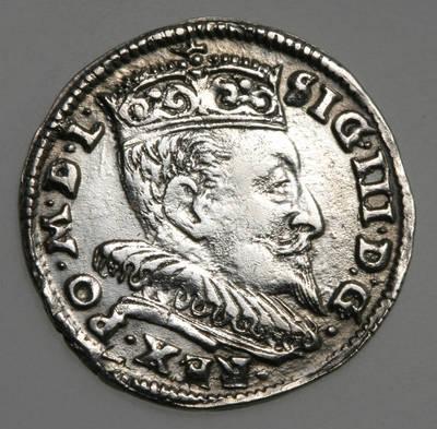 Moneta. Trigrašis. Zigmantas Vaza (1588–1632). 1595 m. LDK