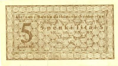 Banknotas. 5 litai. 1922 m. rugsėjo 10 d. Lietuva. 1922
