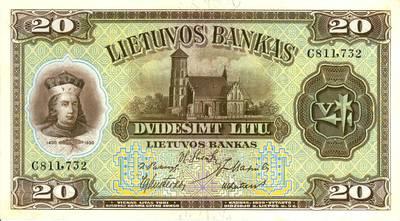 Adomas Galdikas. Banknotas. 20 litų. 1930 m. Lietuva. 1930