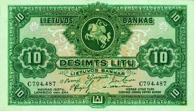 Antanas Žmuidzinavičius. Banknotas. 10 litų. 1927 m. lapkričio 24 d. laida. Lietuva. 1927
