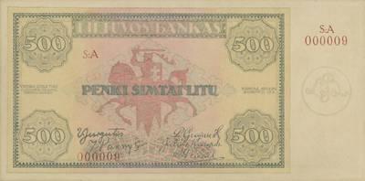 Vilius Jomantas. Banknotas, projektas. 500 litų, 1924 m. rugpjūčio 15 d. Aversas. Lietuva. 1924