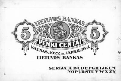 Adomas Varnas. Banknotas, projektas. 5 centai. 1922 m. lapkričio 16 d. Lietuva. 1922