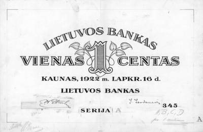 Adomas Varnas. Banknotas, projektas. 1 centas. 1922 m. lapkričio 16 d. Aversas. Lietuva. 1922