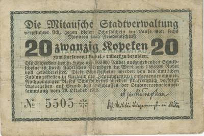 Banknotas. 20 kapeikų. 1915 m. Jelgava. 1915