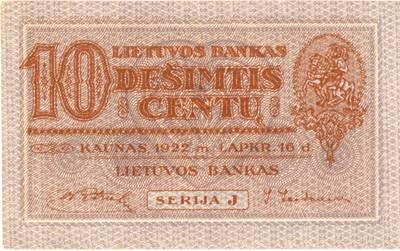 Adomas Varnas. Banknotas. 10 centų. 1922 m. lapkričio 16 d. Lietuva. 1922-11-16