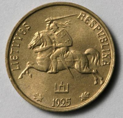 Juozas Zikaras. Moneta. 1 centas. 1925 m. Lietuva. 1925