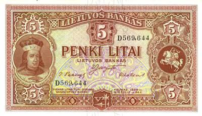 Adomas Galdikas. Banknotas. 5 litai. 1929 m. birželio 24 d. Lietuva. 1929