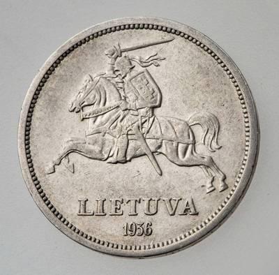 Juozas Zikaras. Moneta. 5 litai. 1936 m. Lietuva. 1936