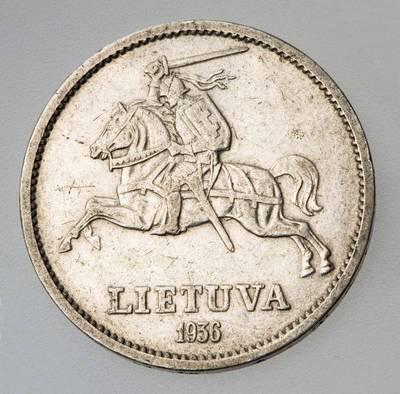 Juozas Zikaras. Moneta. 10 litų. 1936 m. Lietuva. 1936