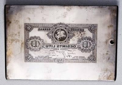 Antanas Žmuidzinavičius. Spaudas, gamybos klišė. 1927 m. laidos 10 litų banknoto aversas. 1927