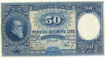 Adomas Galdikas. Banknotas. 50 litų. 1928 m. Lietuva. 1928