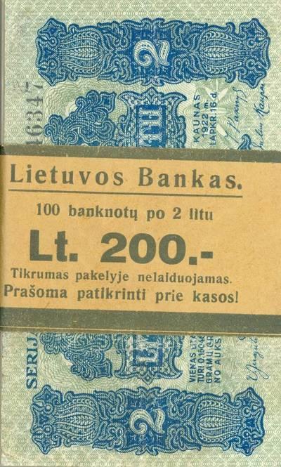 Banderolė. 100 banknotų po 2 litus. 1922 m. Lietuvos bankas. 1922