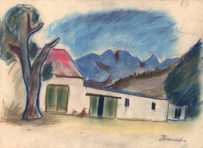 Pranas Domšaitis. a) Čiabuvių gyvenvietė Mamre; b) Peizažas. 1953
