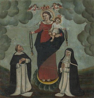 Nežinomas XIX a. II p. liaudies dailininkas. a) Kristaus krikštas;  b) Švč. Mergelė Marija su šv. Dominyku ir šv. Kotryna Seniete. 1861