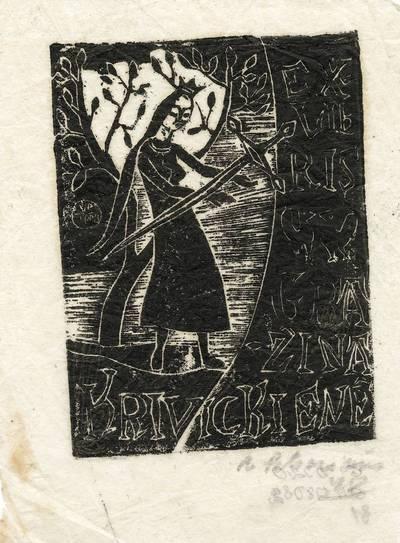 """Viktoras Petravičius. Ekslibrisas """"Zina Krivickienė"""". 1948"""