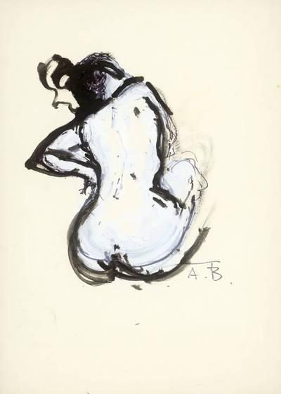 Neemija Arbit Blatas. Nuoga sėdinti moteris iš nugaros. 1975