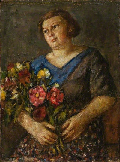 Vladas Eidukevičius. Moteris su gėlių puokšte. 1932
