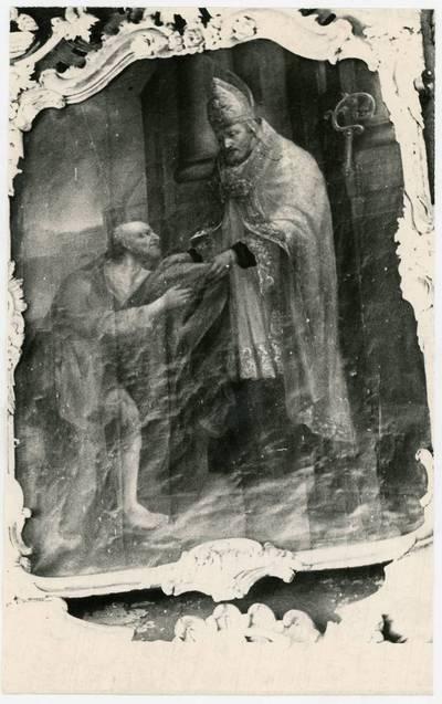 Mečislovas Sakalauskas. Paveikslas, vaizduojantis vyskupą ir vargetą, Vainuto bažnyčioje. 1966